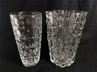LOT OF 2 VINTAGE ART DECO CLEAR GLASS VASES