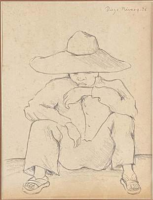 DIEGO RIVERA FIGURATIVE PENCIL ON PAPER DRAWING