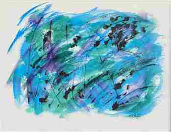 ANTONIO BANDEIRA ABSTRACT OIL ON PAPER V$40,000