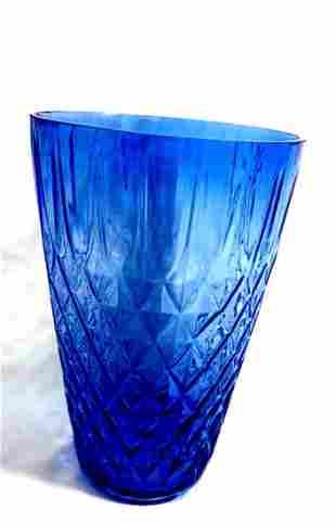 BEAUTIFUL BLUE MID CENTURY MODERN GLASS PATTERN VASE