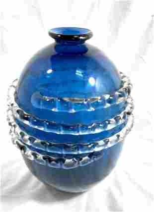 BEAUTIFUL BLUE VINTAGE MURANO GLASS WRAP VASE