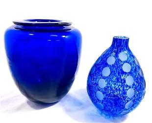LOT OF 2 BEAUTIFUL BLUE VINTAGE ART GLASS VASES