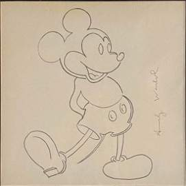 ANDY WARHOL MICKEY MOUSE PENCIL SKETCH ON PAPER