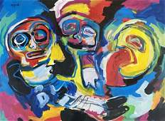 KAREL APPEL ABSTRACT OIL ON PAPER PAINTING V$18,000