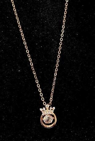 FLOATING CRYSTAL CROWN PENDANT NECKLACE