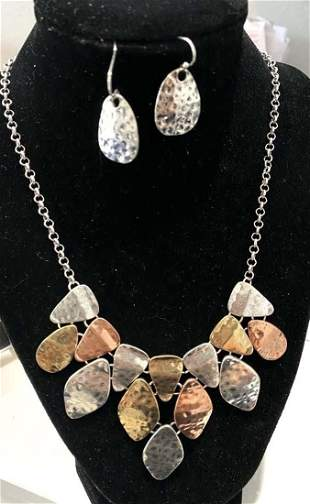 TRENDY HAMMERED METAL STYLISH NECKLACE