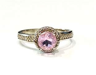 PRETTY PINK TOPAZ 1CT ROUND STERLING SILVER RING