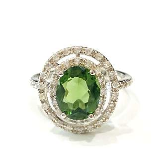 GLAM 3CT OVAL SET PERIDOT/WHITE TOPAZ STERLING RING