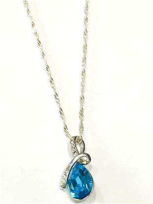STELLAR BLUE CRYSTAL PENDANT STERLING NECKLACE