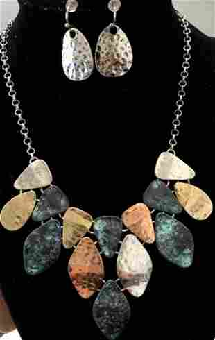 STYLISH HAMMERED METAL LADIES NECKLACE/EARRINGS