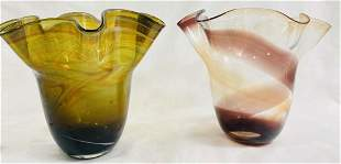VINTAGE LOT OF 2 RUFFLE TOP DEEP TONES ART GLASS VASE