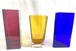 LOT OF 3 ITALIAN ART GLASS COLORED GEOMETRIC VASES