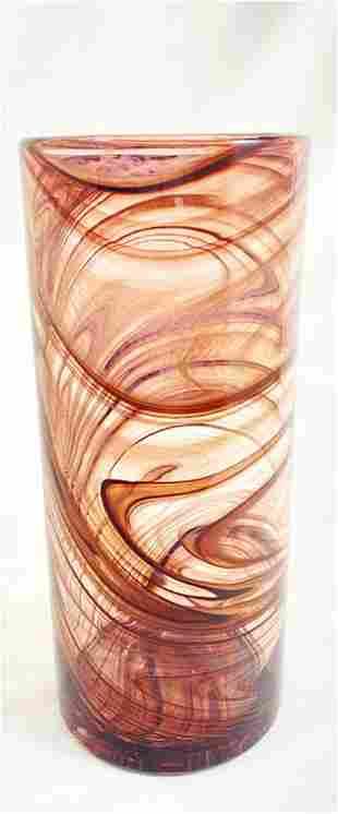 FABULOUS LAVENDER SWIRL HAND BLOWN ART GLASS VASE