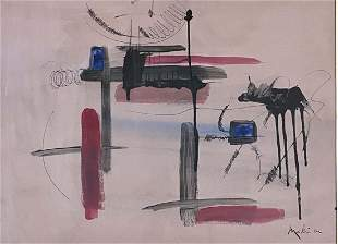 GEORGES MATHIEU OIL ON PAPER ABSTRACT PAINTING V$7,500