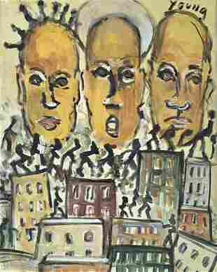 PURVIS YOUNG FIGURATIVE OIL ON PAPER V$16,000