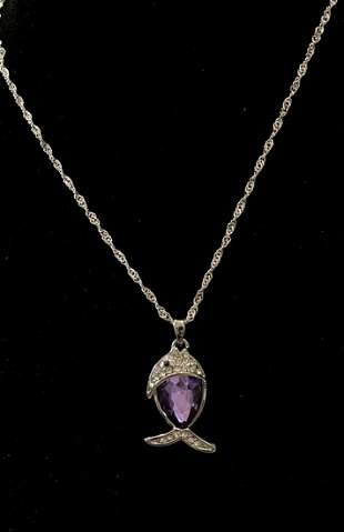 BRIGHT LAVENDER CRYSTAL FISH PENDANT STERLING NECKLACE