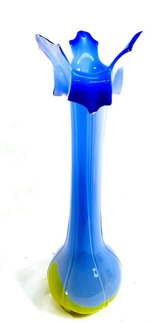 MID CENTURY MODERN MURANO DECO YELLOW/WHITE/BLUE VASE