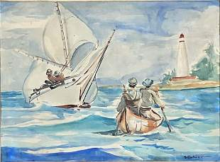 WINSLOW HOMER SEASCAPE WATERCOLOR ON PAPER V$30,000