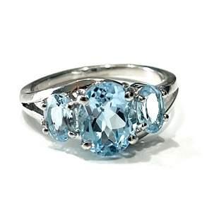 BEAUTIFUL BLUE TOPAZ TRIPLE SET 3CT STERLING RING