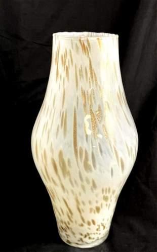 STUNNING TALL WHITE/GOLD SPARKLE MURANO DECO VASE