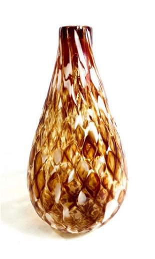 ABSTRACT DECO AMBER AND WHITE WEAVE PATTERN VASE