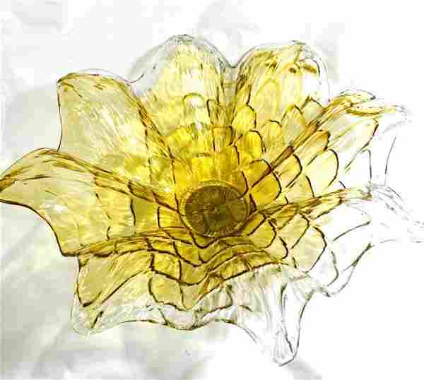 FANTASTIC MURANO LIGHT AMBER FLOWER CONSOLE BOWL