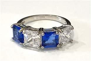 ELEGANT BLUE AND WHITE DECO QUARTZ STERLING SILVER RING