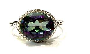 HUGE 5CT FACETED RAINBOW MYSTIC TOPAZ STERLING RING
