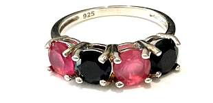 LOVELY RED AND ONYX 4CT ROUND QUARTZ STERLING RING