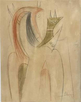 WILFREDO LAM PASTEL ON PAPER ABSTRACT V$26,000