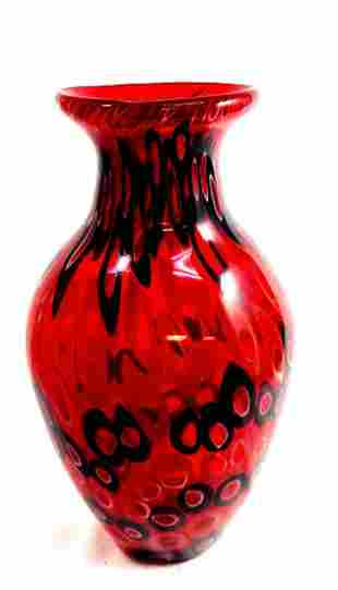 """OUTSTANDING MURANO RED/BLACK """"CIRCLES GALLERY VASE"""