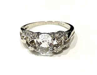 AMAZING SKY BLUE 2CT FILIGREE STERLING SILVER RING