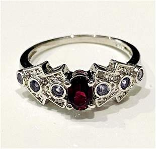 EXQUISITE TANZANITE AND GARNET ART DECO STERLING RING