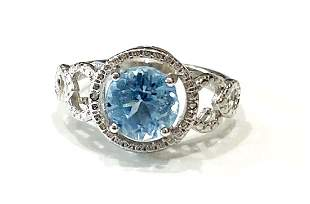 STUNNING ROUND SKY BLUE AMETHYST 2CT STERLING RING