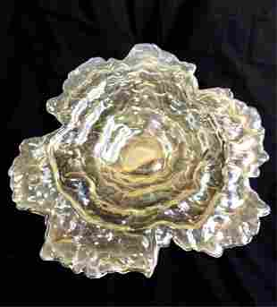 BEAUTIFUL VINTAGE IRIDESCENT AMBER SCALLOP EDGE CHARGER