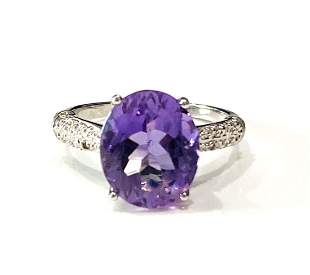 GORGEOUS 5CT AMETHYST GEMSTONE SOLITAIRE RING