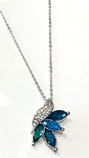 ART DECO STYLE TEAL CRYSTAL PENDANT STERLING NECLACE
