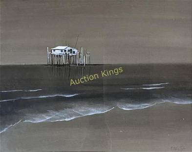 ANN STEFFANY SNYDER OCEAN SCENE OIL ON PAPER PAINTING