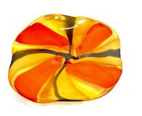 FASCINATING ORANGE/YELLOW/BLACK GALLERY GLASS CHARGER