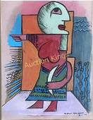 VICTOR BRAUNER OIL ON PAPER FIGURATIVE ABSTRACT