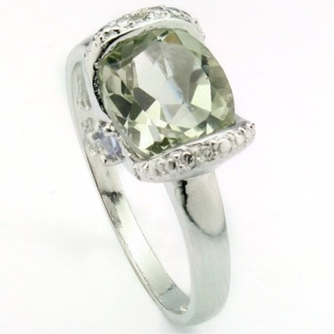 AMAZING 6.58CT GREEN AMETHYST/DIAMOND STERLING RING