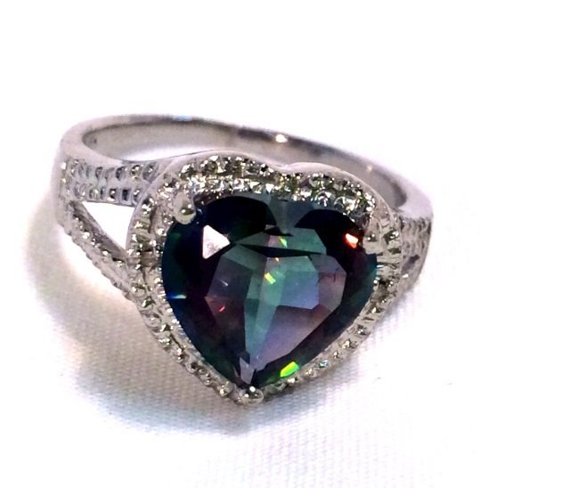 HUGE 3.22CT MYSTIC TOPAZ HEART STERLING RING