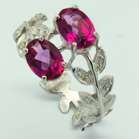 2CT DOUBLE RUBY &WHITE DIAMOND STERLING RING