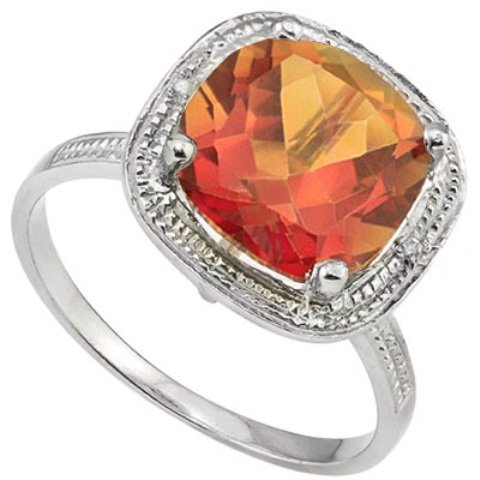 RARE 4CT AZOTIC TOPAZ & DIAMOND STERLING RING