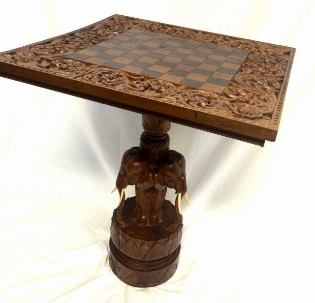 MONGOLIAN TEAK HANDCARVED ELEPHANT CHESS TABLE