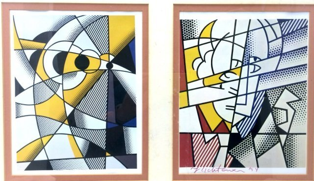 RARE SIGNED ROY LICHTENSTEIN DUAL POSTERS $6000 VALUE