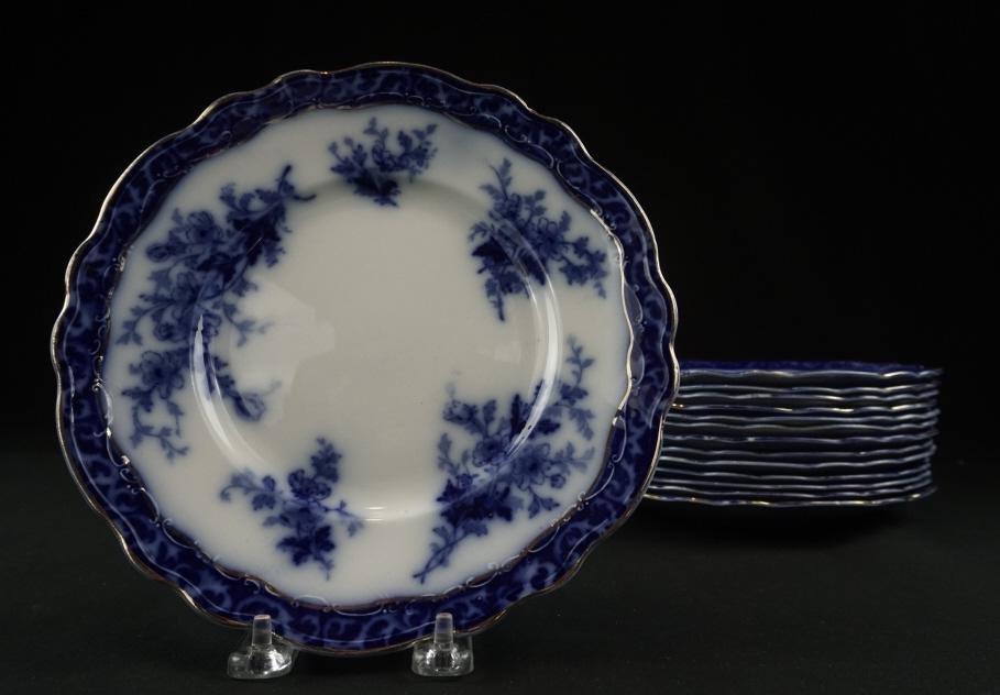"19th Century Flow Blue ""Touraine"" Pattern Plates Set of"
