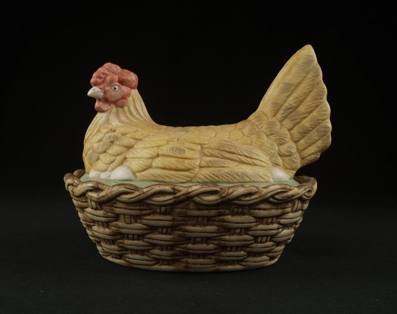 19th Century Bisque Hen on the Nest 19th c. bisque hen