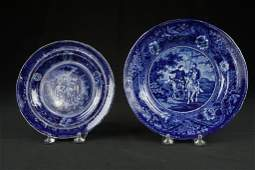 Pair of Blue Staffordshire Historical Plates Pair of