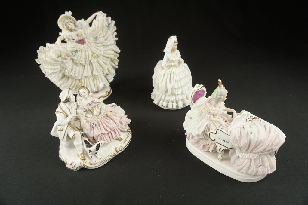 Dresden Lace Figurines Lot of 4 large Dresden lace